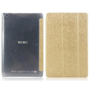Original Cube Talk 10 Tablet Leather Case Wire Lines Flip Cover Gold